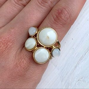 Natural Shell Cabochon Gold Tone Cluster Ring
